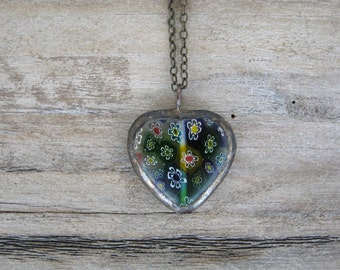 Blue Millefiori Heart Pendant, Blue Floral Heart, Soldered Glass Pendant, Heart Pendant