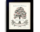 Unique Engagement Gift - Personalized Wedding Gift - Heart Tree Art Print - For Couple