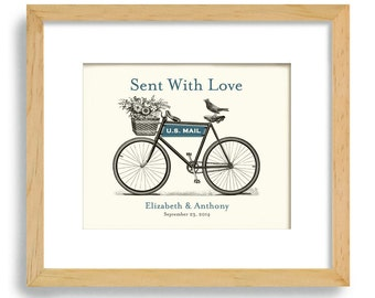 Engagement Gift Unique Wedding Gift Decor Personalized Gift for Couples Anniversary Gift Bride and Groom Wall Art Bicycle Art Bridal Shower