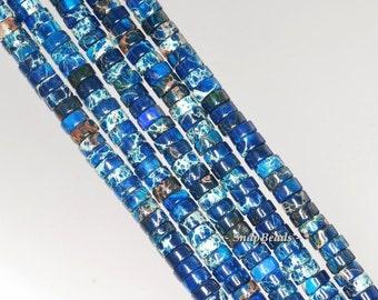 4x2mm Imperial Jasper Gemstone Blue Heishi Slice Rondelle 4x2mm Loose Beads 16 inch Full Strand (90143773-179)