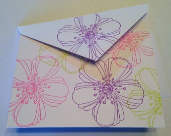 Brightly Colored Flowers on Blank Note Cards - Set of 6