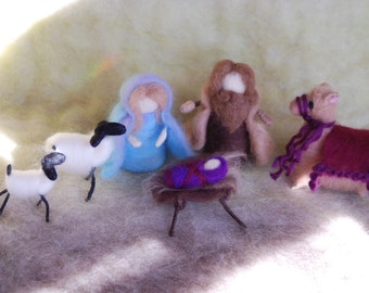 Needle Felted Nativity Scene Handmade Made to Order