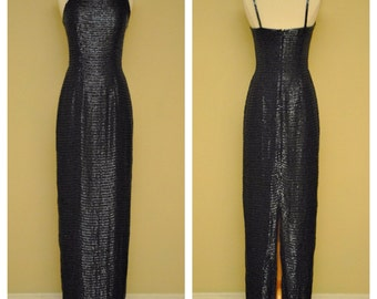 Full Length Beaded Dress in Navy Blue by Sean Limited - Size Small - Striped Bead Work Burlesque Gown
