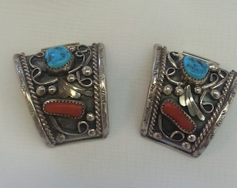 Vintage Handmade Native American Watchband Tabs Signed VM  Navajo Turquoise Coral 1960s Tracy B Designs Estate Jewelry