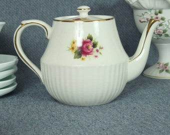 Vintage Teapot, Dorset England, Pink Rose, Collectible, Home Decor