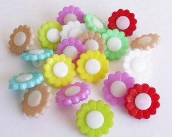 Flower buttons, Set of 20 pieces, plastic buttons