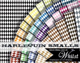 Harlequin digital paper small diamond background pattern mini harlequin scrapbooking : b0221 White v301 49C