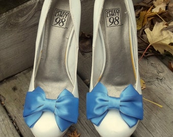 Satin Bow Shoe Clips - set of 2 -  Bridal Shoe Clips, MANY COLORS to choose from, wedding, bridesmaids, flower girls
