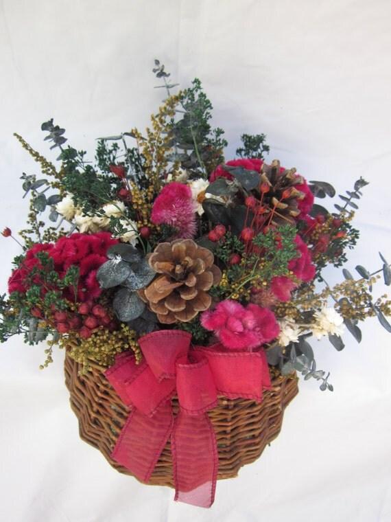 Dried Flower Small Wicker Wall Basket Christmas Flowers