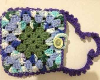 Crocheted Granny Square Purse #166