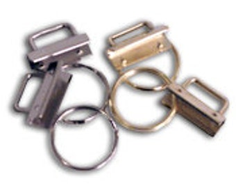 Key Fob Hardware, Set of 5, Clip and Ring, 1 1/4 inch wide Nickel Plated