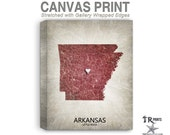 Arkansas Map Stretched Canvas Print - Home Is Where The Heart Is Love Map - Original Personalized Map Print on Canvas