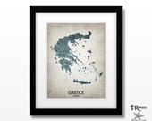 Greece Map Art Print - Home Is Where The Heart Is Love Map - Original Custom Map Art Print Available in Multiple Sizes