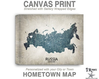 Russia Map Stretched Canvas Print - Home Is Where The Heart Is Love Map - Original Personalized Map Print on Canvas