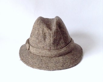 Tweed Fedora - Crease Crown Short Brim Hat Cap - Size Medium 7