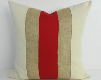 Red and Burlap Decorative Pillow Cover, Throw Pillow Cushion, 18 x 18