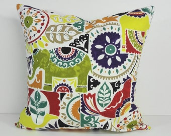 Decorative Pillow Cover, Mult-Colored Throw Pillow Cushion, 16 x 16, 18 x 18, Boho Pillow Cover