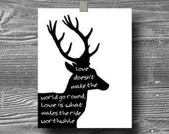 deer, inspirational art, quote art print, print, poster, motivational, typography print, black white, home decor