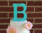 Rustic distressed wood letter initial wedding cake topper. Turquoise or custom color