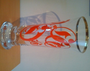 Vintage/ Retro funky orange & gold tall drinking glass