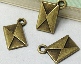 25pcs Antique Bronze Lovely Envelope Charm Pendant 9x13mm E202-1