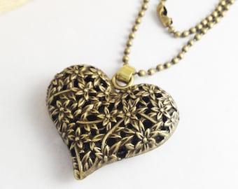 1pc Antique Bronze Filigree Heart Necklace