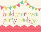 Build Your Own Party Pack - Any Birthday or Baby Shower Banner, AND 4 Other Items -  Choose 12 Toppers, Favor Tags & Door Sign