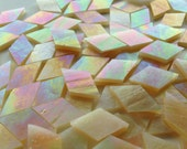 Mosaic Tiles - 100 Small Diamonds - Iridescent Gold Stained Glass - Hand-Cut