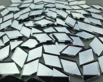 Mosaic Tiles - Mirror - 100 Small Diamonds - Mirror Glass - Hand-Cut