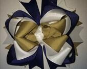 Navy blue, tan, white hair bow, uniform, notre dame, fighting irish
