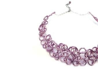 Lilac Wire Collar Necklace Purple Choker Statement Jewelry