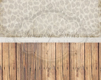 """ALL In ONE 60"""" x 123""""(backdrop, floordrop & baseboard) Leopard Texture and Brown Wood"""