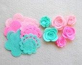 18 Piece Die Cut Felt DIY 3D Roses in Small and Medium, Sweet Pea