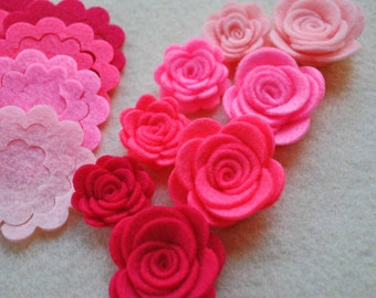 24 Piece Die Cut Felt DIY 3D Roses in Small and Medium, Pinks