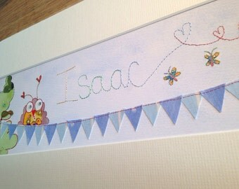 Baby Boy - Bird on Bunting - Name Art - Nursery Art - Boy - Blue - Personalised