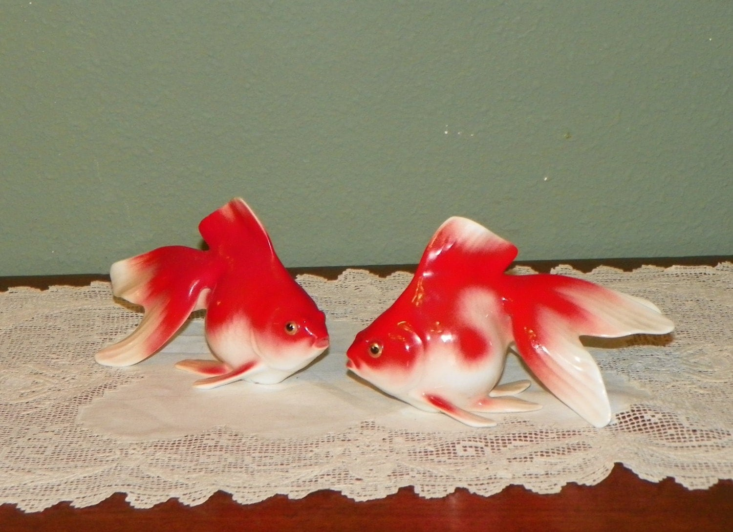 Vintage noritake koi figurine figure goldfish gold fish bone for Koi fish figurines