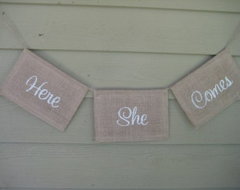Here Comes The Bride, Here She Comes, Burlap Banner, Burlap Wedding, Rustic Wedding, Burlap Sign, Burlap Wedding Sign, Rustic Burlap Banner