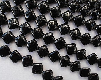 "2 or 5 or 10 Strand  Grade A Natural Gemstone Black Tourmaline 10 x 10mm Puffed Square - Full 16"" Liquadation Close Out Price 2 - 10 Strands"