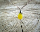 Yellow Jade Necklace, Minimalist Silver Brass Necklace, Silver Necklace with Stone, Jade Necklace, Silver Jade Necklace