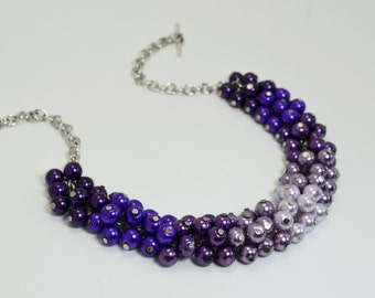 Purple Ombre Cluster Necklace, Shades of Purple Bridal Jewelry, Wedding Necklace, Ombre Pearl Necklace, Ombre Jewelry, Bridesmaid Gift