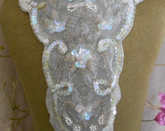 Pale Pink Beaded Opalescent Sequined Appliqus