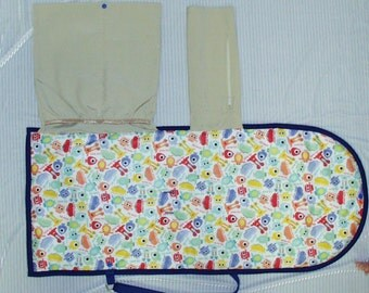 Baby Travel Change N Go Purse/Pad with Pockets-Monsters and Blue Water Resistant Free Shipping