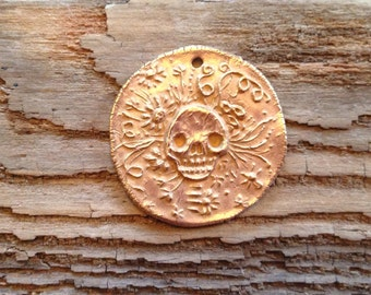 Small Bronze Sugar Skull Coin