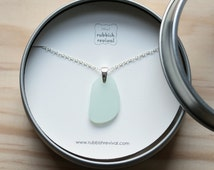 Sea Glass & Sterling Silver Necklace - Seafoam Pendant