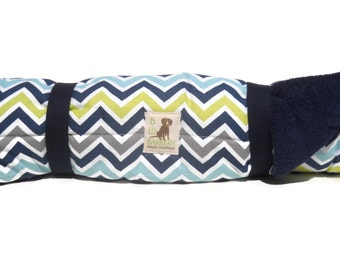 "Dog Bed - Chevron print  bed roll - 27"" x 43"""