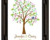 Fingerprint Guest Tree, Wedding Poster, Thumbprint Stamp Tree guest book, Love Birds, THUMBPRINT TREE, 20x30 num.140