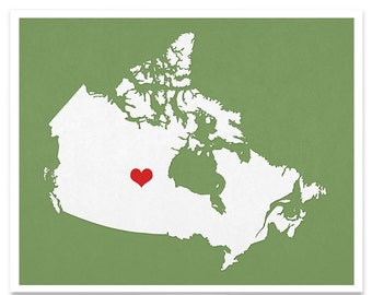 Canada Map Custom Personalized Heart Print I Love Vancouver BC Toronto Montreal Hometown Wall Art Gift Souvenir