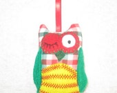 Winking Owl Ornament In red and green plaid