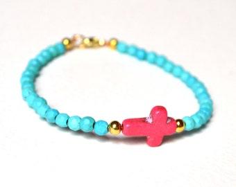 Sideways Cross Bracelet, Genuine Turquoise Bead Bracelet, Pink Howlite Cross, Gifts For Teenagers, Uk Seller