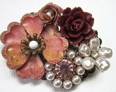 Rustic Wedding Brooch , Pink Maroon Wine Floral Pin Accessories